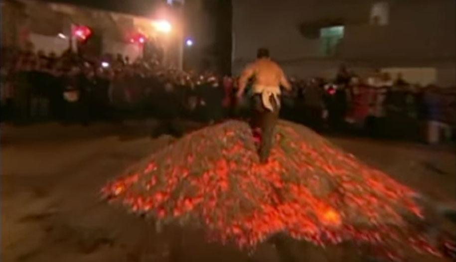 burning coal walk china